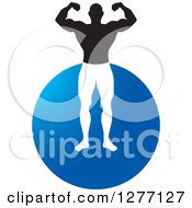 Clipart Of A Flexing Male Bodybuilder Over A Blue Circle Royalty Free Vector Illustration by Lal Perera
