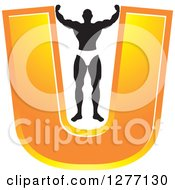 Clipart Of A Flexing Black And White Male Bodybuilder Stretching Out An Orange Letter U Royalty Free Vector Illustration by Lal Perera