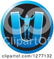 Clipart Of A Flexing Male Bodybuilder Stretching Out A Blue Letter U In A Black Circle Royalty Free Vector Illustration by Lal Perera