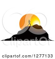 Clipart Of A Silhouetted Woman Running Up A Mountain Over A Sunset Circle Royalty Free Vector Illustration