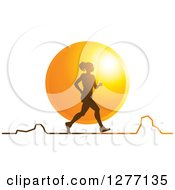 Clipart Of A Silhouetted Woman Running Over A Sunset Circle And A Chart Royalty Free Vector Illustration