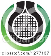Clipart Of A Green Black And White Tennis Racket Or Net Icon Royalty Free Vector Illustration by Lal Perera