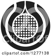 Clipart Of A Black And White Tennis Racket Or Net Icon Royalty Free Vector Illustration by Lal Perera