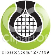 Clipart Of A Green Black And White Tennis Racket Or Net Icon 2 Royalty Free Vector Illustration by Lal Perera