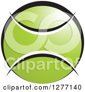 Clipart Of A Green White And Black Tennis Ball With Text Space Royalty Free Vector Illustration by Lal Perera