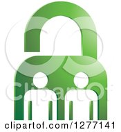 Clipart Of A Green Padlock And White People Royalty Free Vector Illustration by Lal Perera