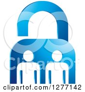 Clipart Of A Blue Padlock And White People Royalty Free Vector Illustration by Lal Perera