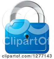 Clipart Of A Blue And Silver Padlock Royalty Free Vector Illustration by Lal Perera