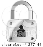 Clipart Of A Silver Padlock And Black Person Royalty Free Vector Illustration by Lal Perera