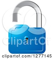 Clipart Of A Blue And Silver Open Padlock Royalty Free Vector Illustration by Lal Perera