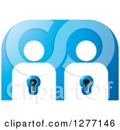 Clipart Of White People Key Holes On Blue Royalty Free Vector Illustration by Lal Perera