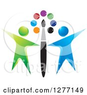 Clipart Of A Paintbrush And Colorful Dots With Green And Blue People Royalty Free Vector Illustration by Lal Perera