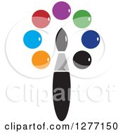 Clipart Of A Paintbrush And Colorful Dots Royalty Free Vector Illustration by Lal Perera