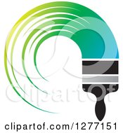 Clipart Of A Brush With A Curved Stroke Of Gradient Blue To Green Paint Royalty Free Vector Illustration by Lal Perera