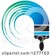 Clipart Of A Brush With A Curved Stroke Of Gradient Blue And Green Paint Royalty Free Vector Illustration