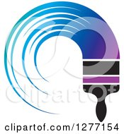 Clipart Of A Brush With A Curved Stroke Of Gradient Purple To Blue Paint Royalty Free Vector Illustration by Lal Perera