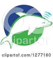 Clipart Of A White And Green Dolphin Making Sounds Over A Circle Royalty Free Vector Illustration by Lal Perera