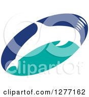 Clipart Of A White Silhouetted Dolphin Making Sounds Over A Blue And Turquoise Oval Royalty Free Vector Illustration by Lal Perera
