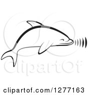Clipart Of A Black And White Dolphin Making Sounds Royalty Free Vector Illustration by Lal Perera