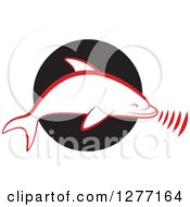 Clipart Of A Red And White Silhouetted Dolphin Making Sounds Over A Black Circle Royalty Free Vector Illustration by Lal Perera
