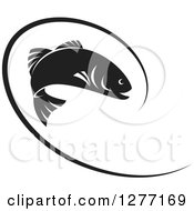 Clipart Of A Black And White Leaping Fish And Line Royalty Free Vector Illustration by Lal Perera