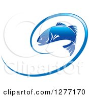 Clipart Of A Blue Leaping Fish And Line Royalty Free Vector Illustration by Lal Perera