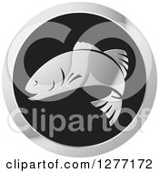 Clipart Of A Shiny Silver And Black Fish Logo Royalty Free Vector Illustration by Lal Perera