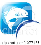 Clipart Of A Square Blue And White Fish Icon Royalty Free Vector Illustration by Lal Perera
