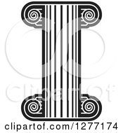 Clipart Of A Black And White Fancy Pillar Column Royalty Free Vector Illustration