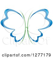 Clipart Of A Blue And Green Butterfly With Open Dental Tooth Shaped Wings Royalty Free Vector Illustration by Lal Perera
