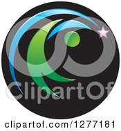 Clipart Of A Abstract Green Person Chasing A Shooting Star In A Black Circle Royalty Free Vector Illustration