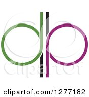 Clipart Of A Green And Purple Abstract Mirrored Letter P Design Royalty Free Vector Illustration