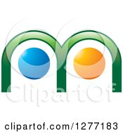 Clipart Of A Green Blue And Orange Abstract M Design Royalty Free Vector Illustration