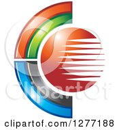 Clipart Of A Colorful Abstract C And Lined Globe Royalty Free Vector Illustration
