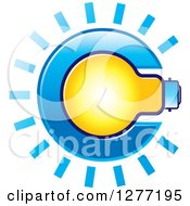 Clipart Of A Shining Light Bulb In Letter C Royalty Free Vector Illustration