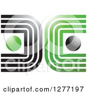 Clipart Of A Green And Black Abstract Lines And Orbs Logo Royalty Free Vector Illustration