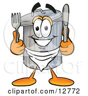 Clipart Picture Of A Garbage Can Mascot Cartoon Character Holding A Knife And Fork