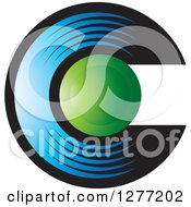 Clipart Of A Blue Black And Green Letter C Design Royalty Free Vector Illustration