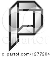Clipart Of A Black And Silver Paper Letter P Royalty Free Vector Illustration