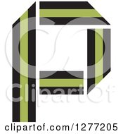 Clipart Of A Black And Green Paper Letter P Royalty Free Vector Illustration