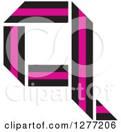 Clipart Of A Black And Pink Paper Letter Q Royalty Free Vector Illustration