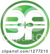 Clipart Of A Round Green And White BF With A Spoon And Fork Royalty Free Vector Illustration