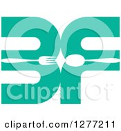 Clipart Of A Turquoise BF With A Spoon And Fork Royalty Free Vector Illustration