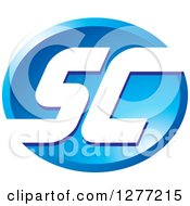 Clipart Of A Blue Oval Icon With White SC Letters Royalty Free Vector Illustration