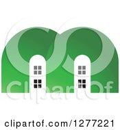 Clipart Of White Houses In A Green Letter M Royalty Free Vector Illustration