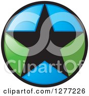 Clipart Of A Round Black Green And Blue Star Icon Royalty Free Vector Illustration by Lal Perera