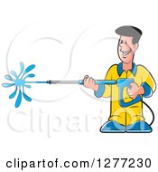 Clipart Of A Happy Caucasian Man Operating A Power Washer Royalty Free Vector Illustration by Lal Perera