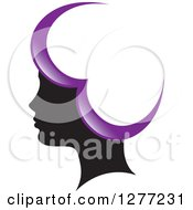 Clipart Of A Black Silhouetted Womans Head With Purple Heart Hair Royalty Free Vector Illustration by Lal Perera