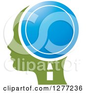 Clipart Of A Green Silhouetted Womans Head In Profile With A Blue Magnifying Glass Royalty Free Vector Illustration by Lal Perera