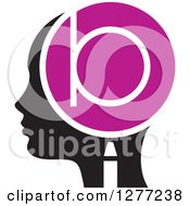 Clipart Of A Black Silhouetted Womans Head In Profile With A Letter B In A Magnifying Glass Royalty Free Vector Illustration by Lal Perera